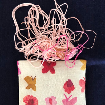 pink butterflies and flowers lavender pouch