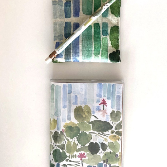 lavender pouch / notebook / pencil