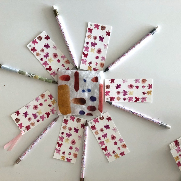 pink butterflies bookmarks and pencils / lilypad pencils / red dots and dashes lavender pouch