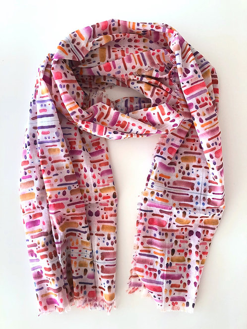 Pink Dots and Dashes Cotton Voile Scarf (Medium)