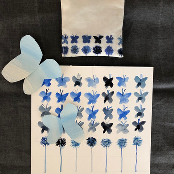 blue butterflies and flowers lavender pouch