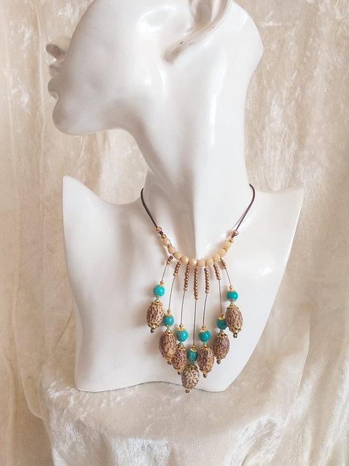 Antoinette turquoise blanc