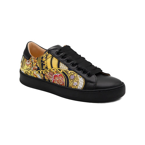 Golden Floral Waves sneakers