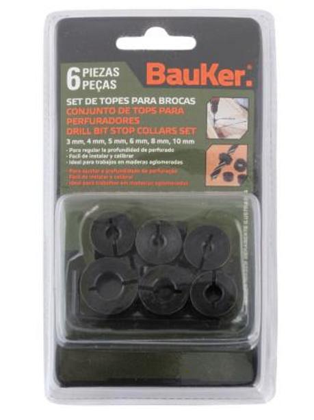 Set de topes para broca 6 unidades Bauker