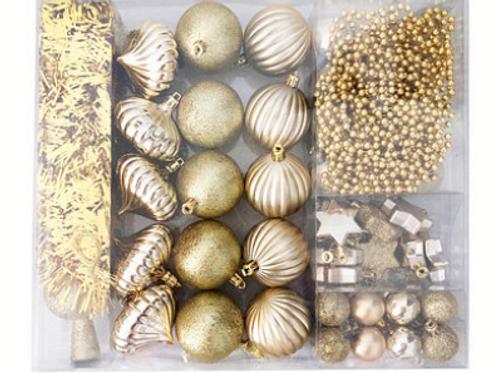 Set decoración gold para árbol de navidad / 55 adornos