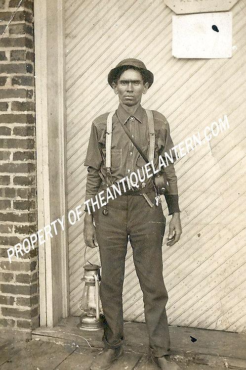 Watchman with C.T. Ham lantern 8x5 photo copy