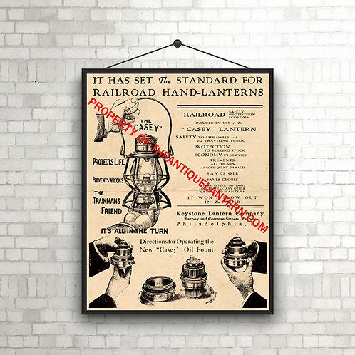 The CASEY Railroad Lantern Poster 11x14