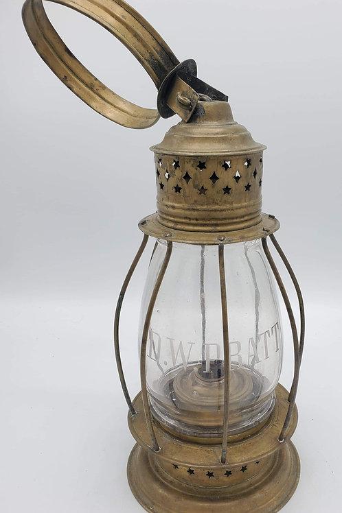 Brass New England Glass Co.  ( wheel cut D.W. PRATT) Sangster 1851 hallmark