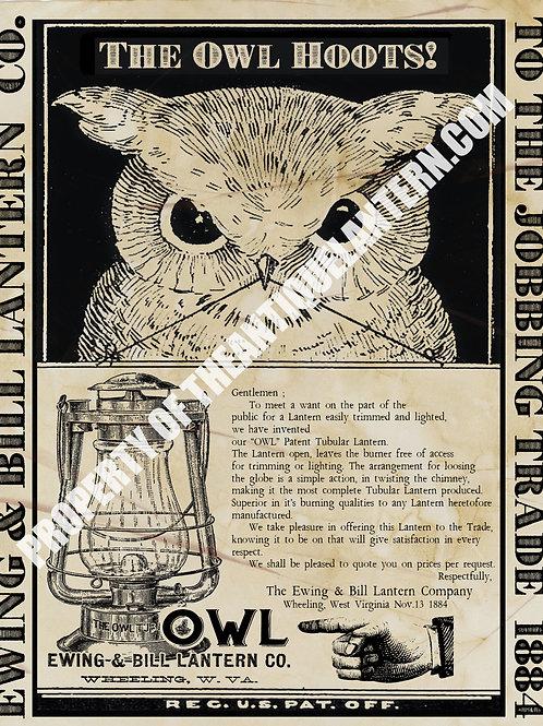 Ewing & Bill Lantern Company OWL poster 11x14