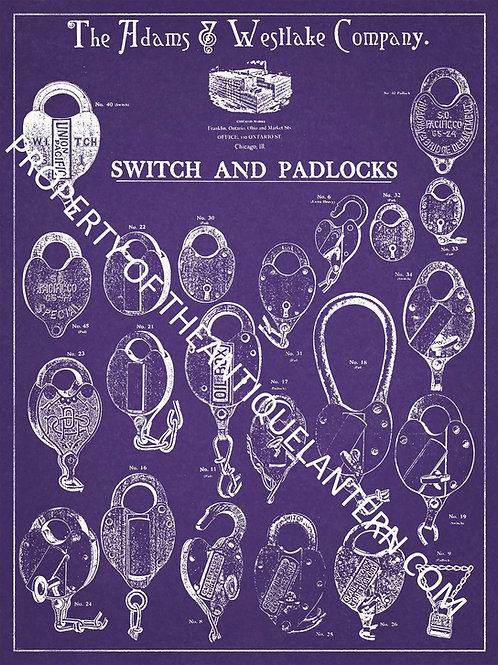 Adams & Westlake padlocks & switches poster