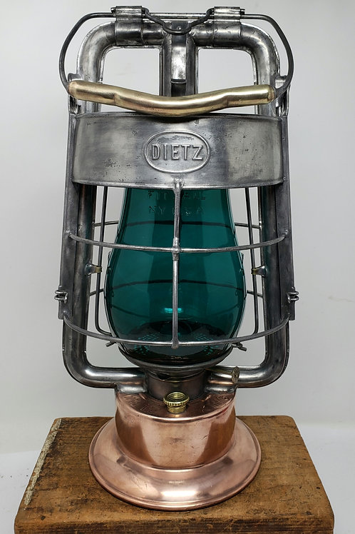 Dietz Fire King tubular with Teal Fitzall globe