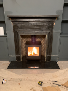 Wood burning stove installtion in staine