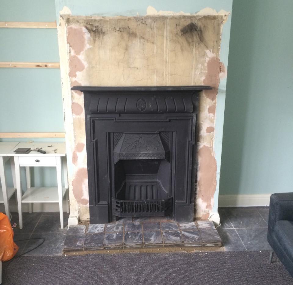 cast fireplace installation