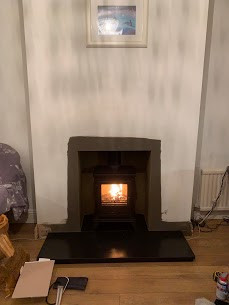Woodburning stove installation in Windso
