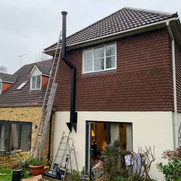 Twin wall flue system installation in Virginia water