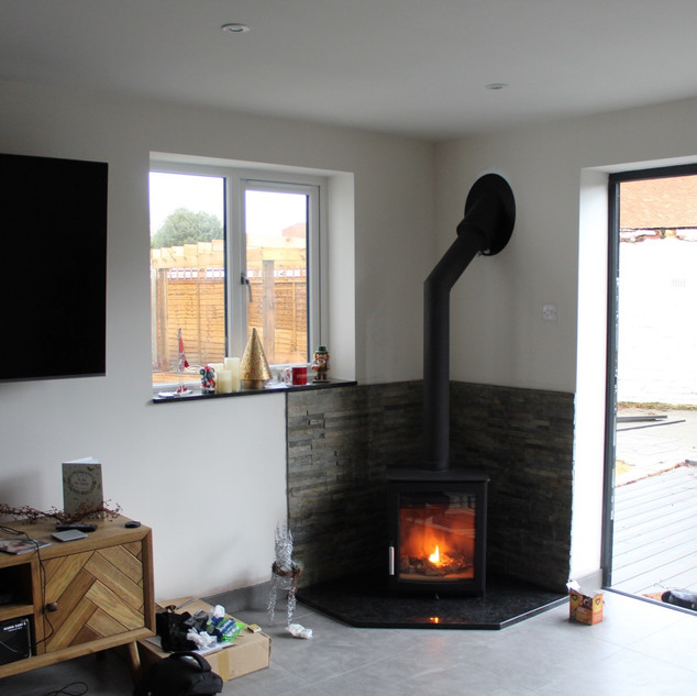 Wood burning stove installation in Staines
