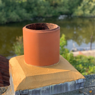 Chimney stack rebuilt by us ready to cap to stop rain and other elements entering the flue in the future causing more damage