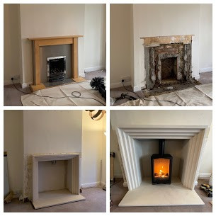 Old Gas fireplace removal then installat