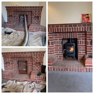Wood burning stove installation in Maide