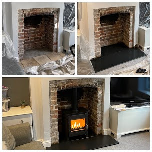 Wood burning stove installation today in