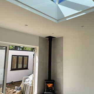 wood stove and twin wall flue englefield