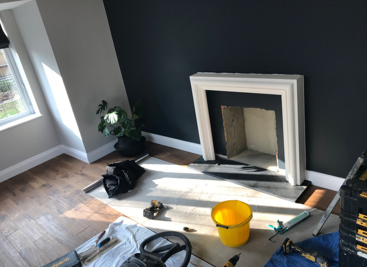 almost finsihed with the fireplace installation
