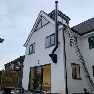 Twin wall flue system installation in Staines, Surrey