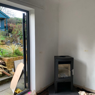 Wood stove and Twin wall flue system installation in Virginia water