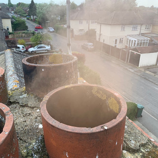 Chimney smoke test in Staines, Middlesex