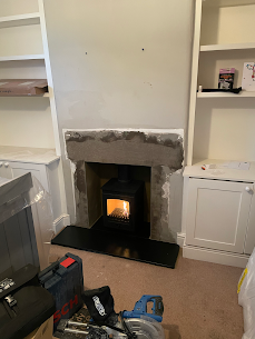 Wood burning stove installation in winds