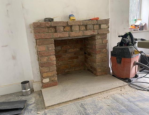 wood burning stove installation Before -