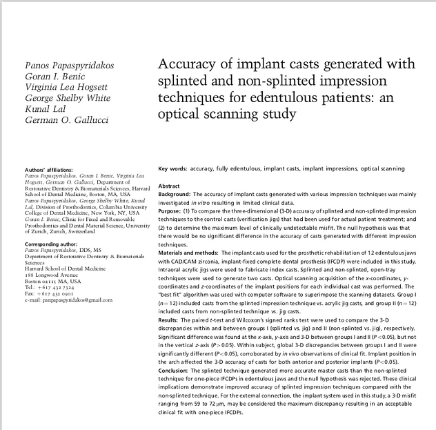 Clinical Oral Implants Research: Accuracy of Implant Casts -Splinted and non-splinted impressions