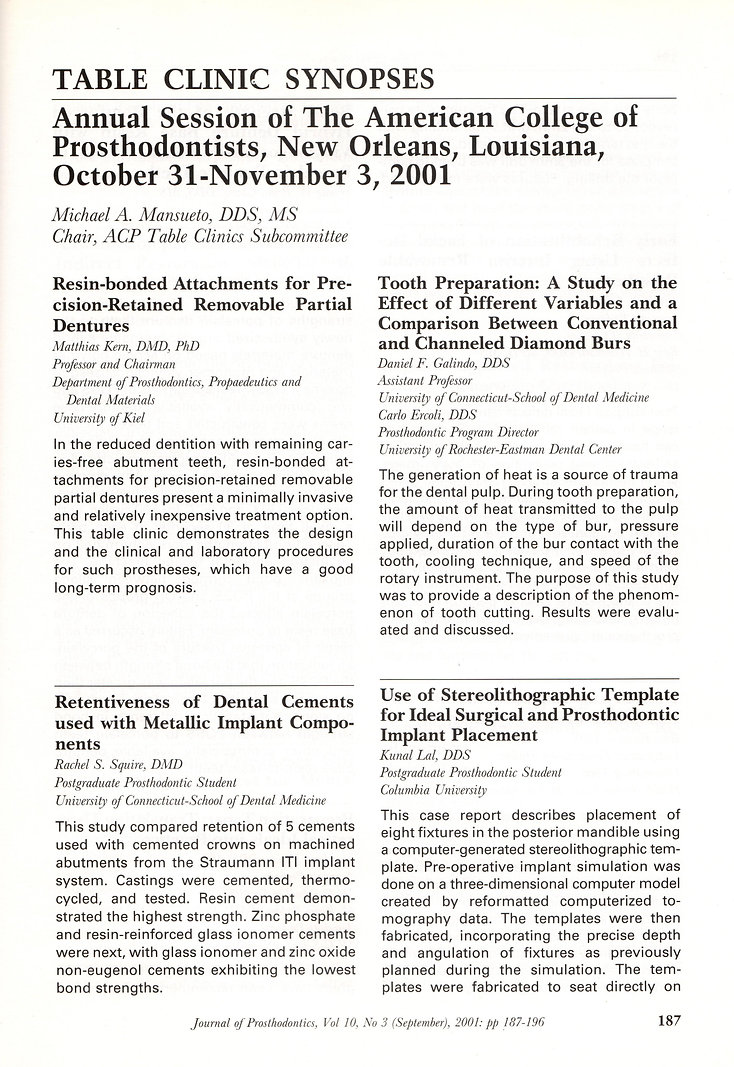 Journal of Prosthodontics September 2001 Issue Table Clinic Synopses