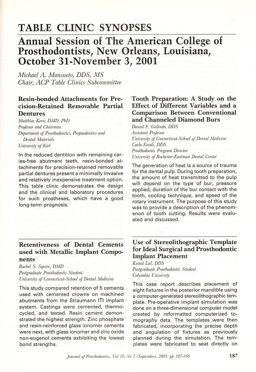 Journal of Prosthodontics Table Clinic Article