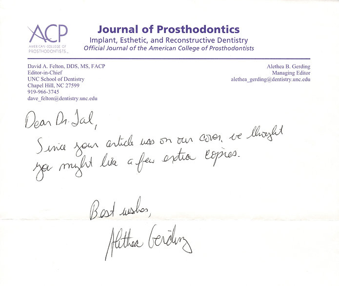 Personal Note from Alethea Gerding managing editor of Journal of Prosthodontics