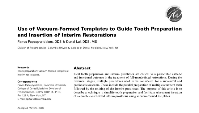 Journal of Prosthodontics Vacuum-formed templates to guide tooth preparation article