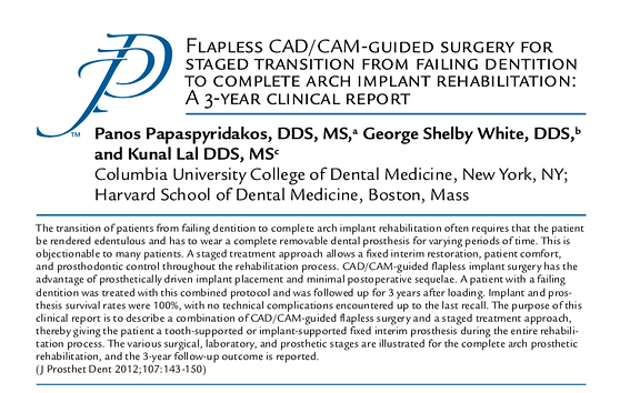 Journal of Prosthetic Dentistry Flapless CAD/CAM Guided Surgery Article