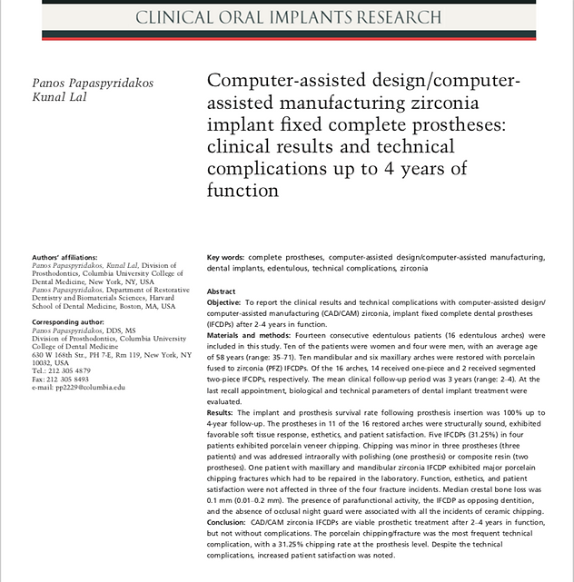 Clinical Oral Implans Research: CAD/CAM Zirconia implant fixed complete prostheses