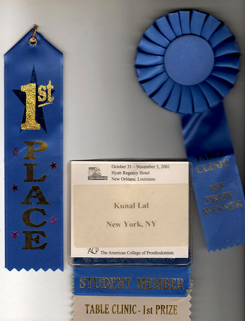Dr. Kunal Lal 1st place ribbons for best table clinic presentation at ACP Annual Meeting 2001