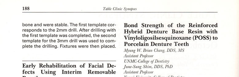 Journal of Prosthodontics September 2001 Issue Table Clinic Synopses page 2