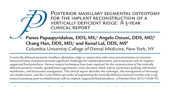 Journal of Prosthetic Dentistry Posterior Maxillary Clinical Report