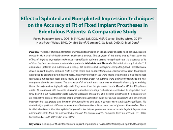 JOMI: the International Journal of Oral & Maxillofacial Implants. Effect of Splinted and NonSplinted Impression Techniques Article