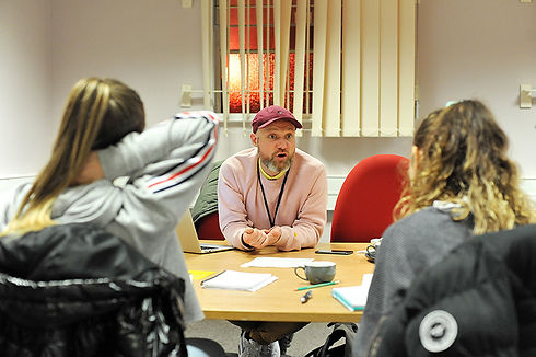 Co-Artistic Director Chris Hoyle delivers a play writing workshop