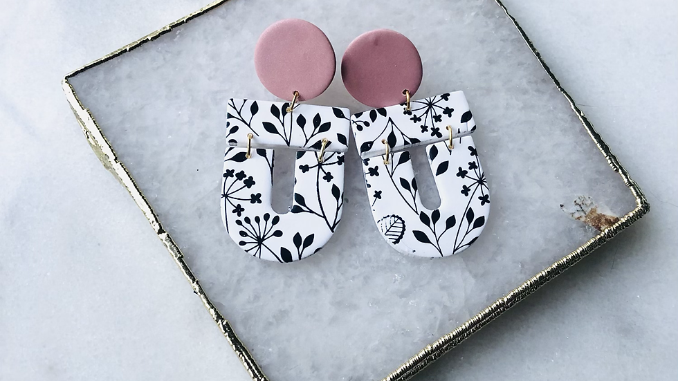 The Zoe in Black and White Floral and Pink