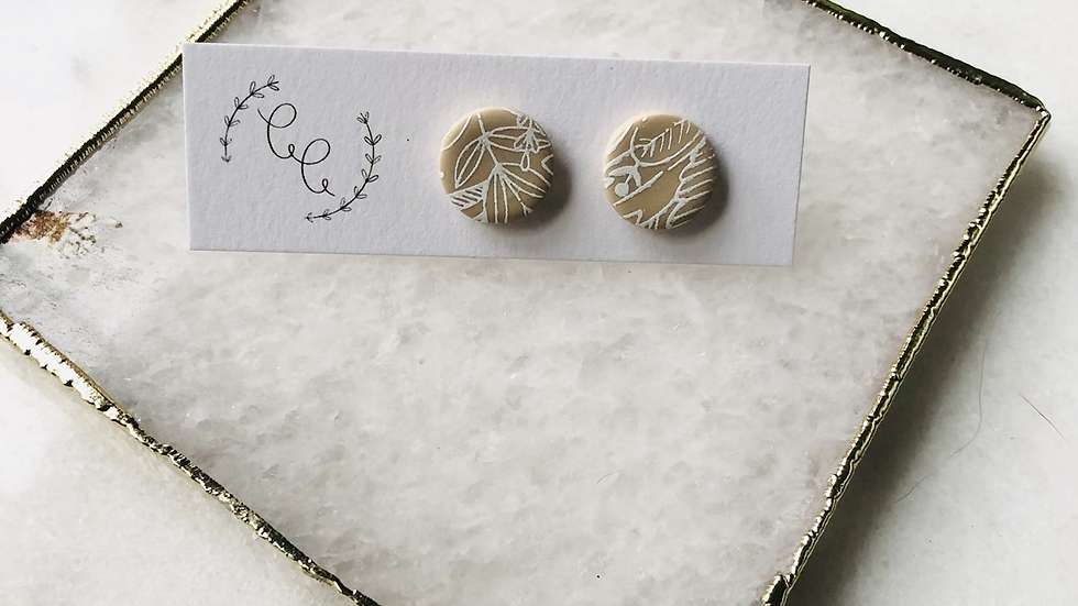 Tan and White Floral Earrings