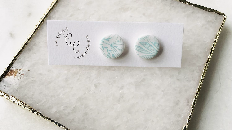 White and Light Blue Floral Earrings