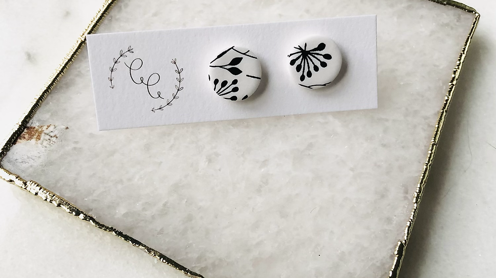 Black and White Floral Studs