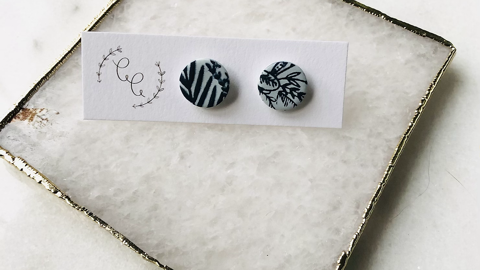 Light Blue and Navy Floral Studs