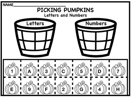 Halloween Pumpkin letter and number sort