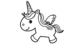 Baby Unicorn black and white coloring pa